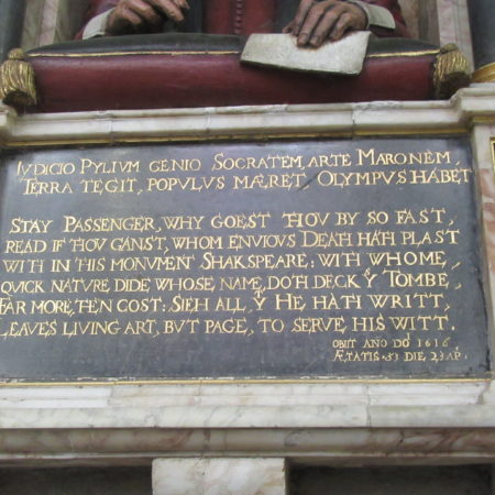 Shakespeare monument Inscription panel 2