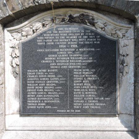 Bonvilston war memorial roadside wall tablet