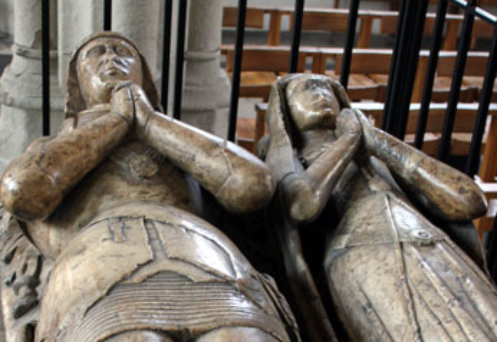 Close up of the figures on the Cholmondeley Monument