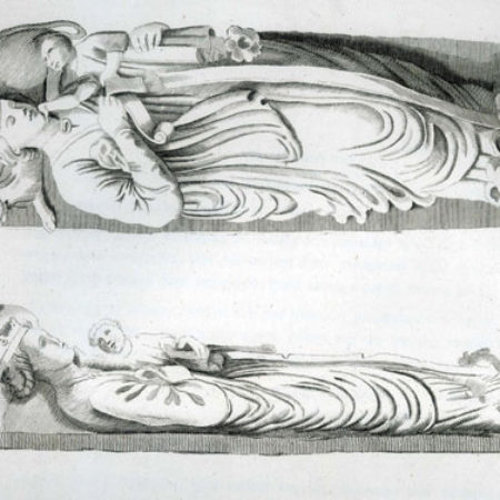Fig 1 Etching by Basire published in Goughs Sepulchral Monuments 1796