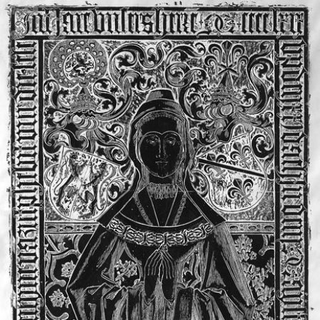 Photo 2a Rubbing of effigial brass on the top of the tomb of Catherine of Bourbon Duchess of Guelders in the choir of the Stevenskerk Nijmegen