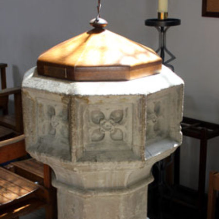 The Sixteenth Century font discovered inside the Cholmondeley Monument in 1876