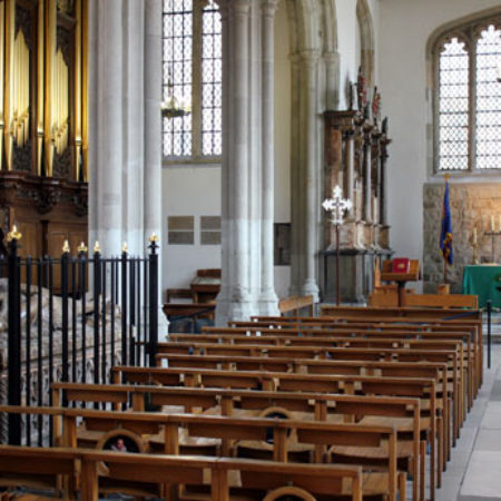View looking east of the Chapel of St Peter ad Vincula The Cholmondeley Monument is inside the railings in the left of the image