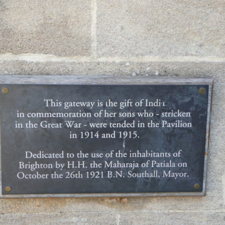 Plaque on the India Gate at Brighton: photo Barbara Tomlinson