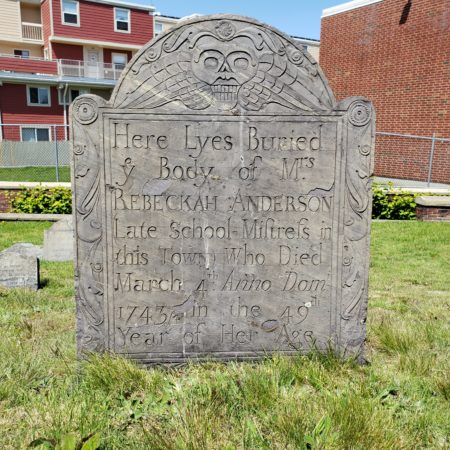 Rebeckah Anderson, d. 1743/4, Phipps St. Burying Ground, Charlestown, MA (attrib. N. Lamson/DL); photo DLa Rue