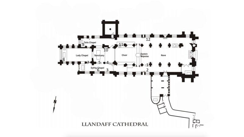 llandaffcathedralplan tombsnumbered