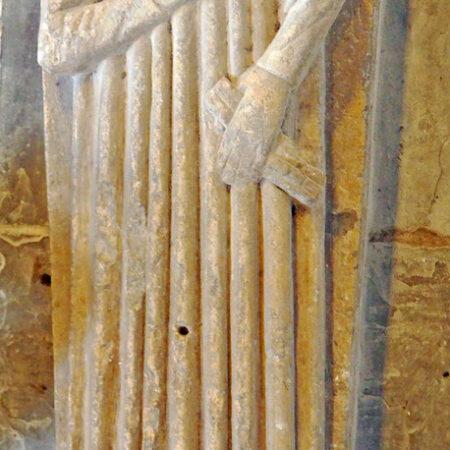 Figure 1 Effigy of a man holding a glove in St Illtuds Church Llantwit Major Vale of Glamorgan