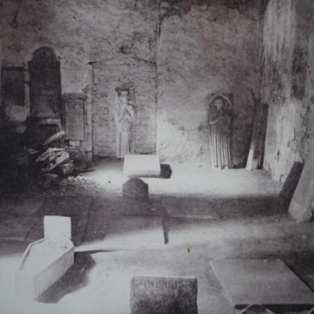 Figure 2 Photograph of St Illtuds church 1890 showing the effigy with s glove on the far right of the picture